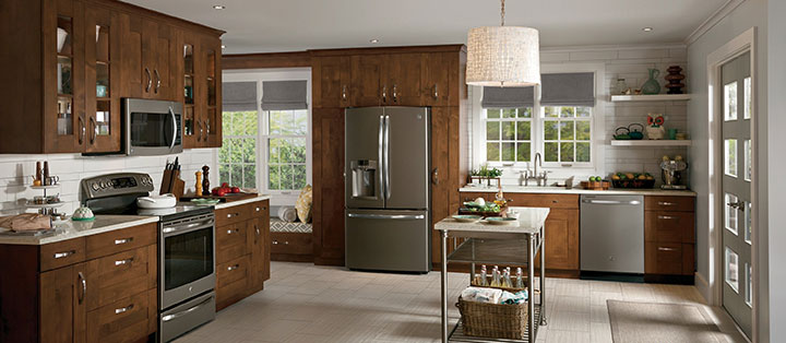 Stainless Steel Refrigerator In Small Country Kitchen