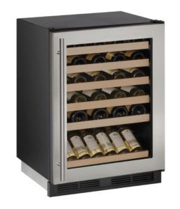 "U-Line 24"" Wine Captain Model Stainless Frame Field Reversible Door"