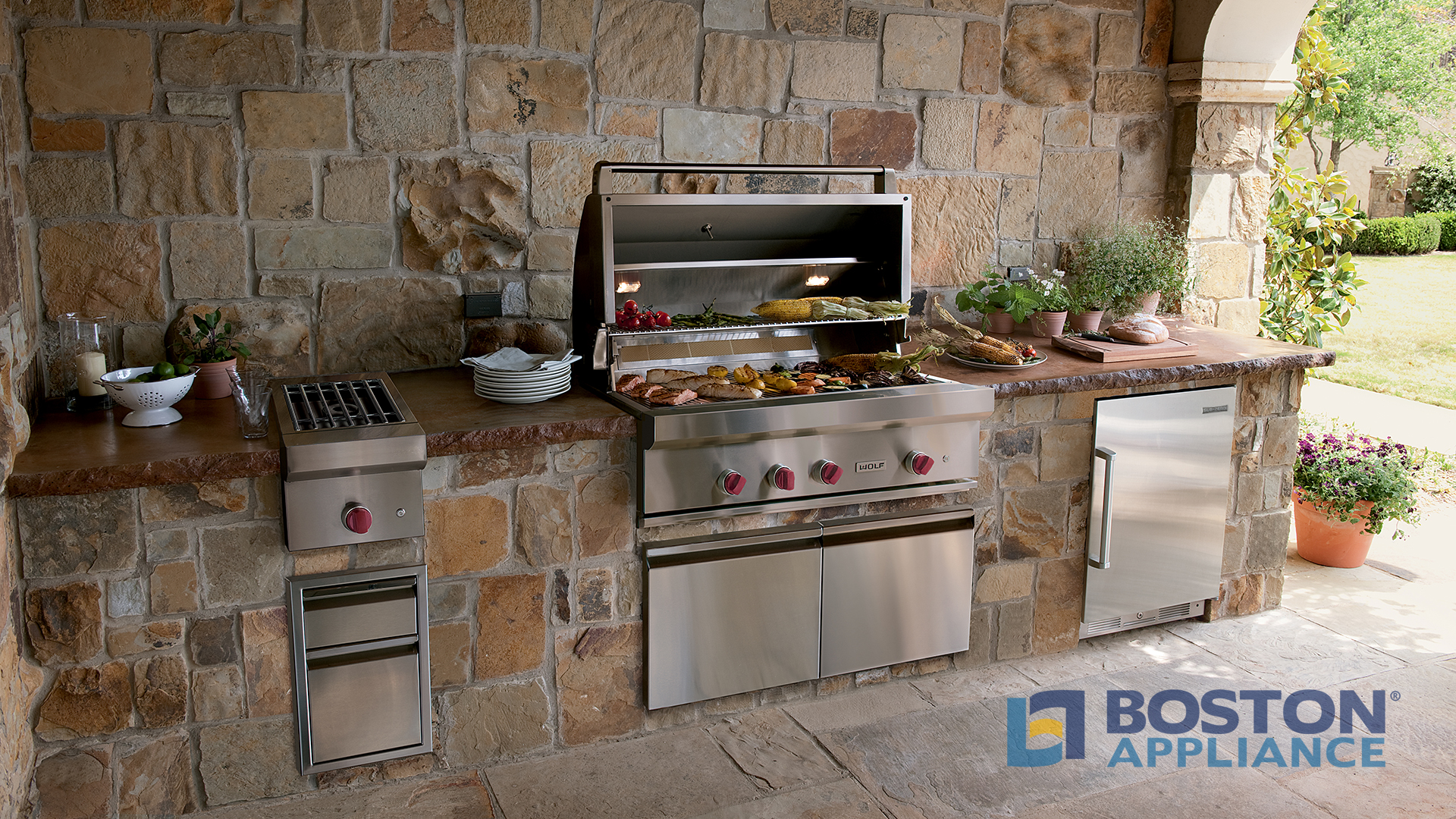 Wolf Stainless Steel Outdoor Built In Natural Gas Grill It